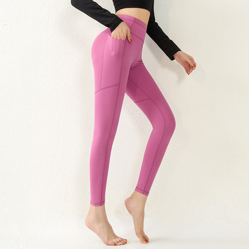 2021 Pocket New Peach Hip Fitness Pants Running Tight Yoga Pants