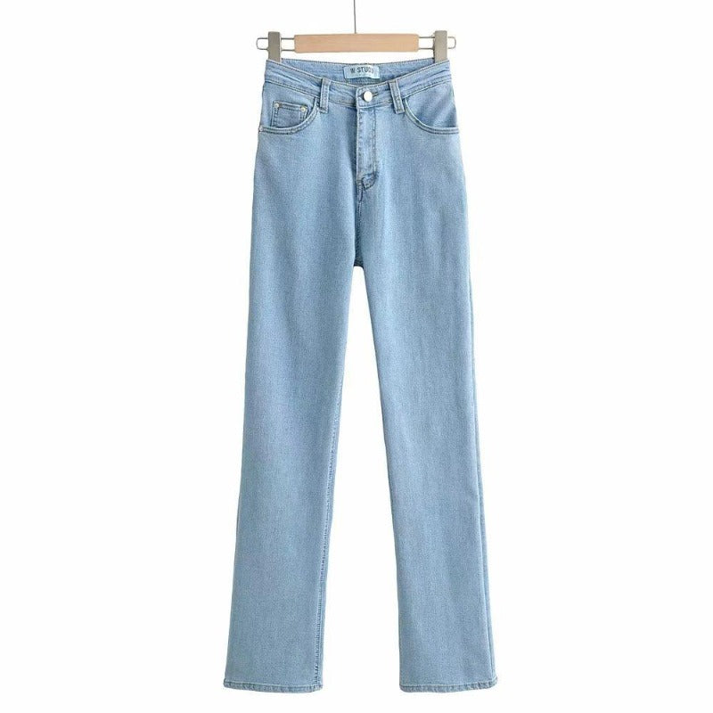 High Waist Denim Flared Jeans for Women, High-Rise Slim Jeans