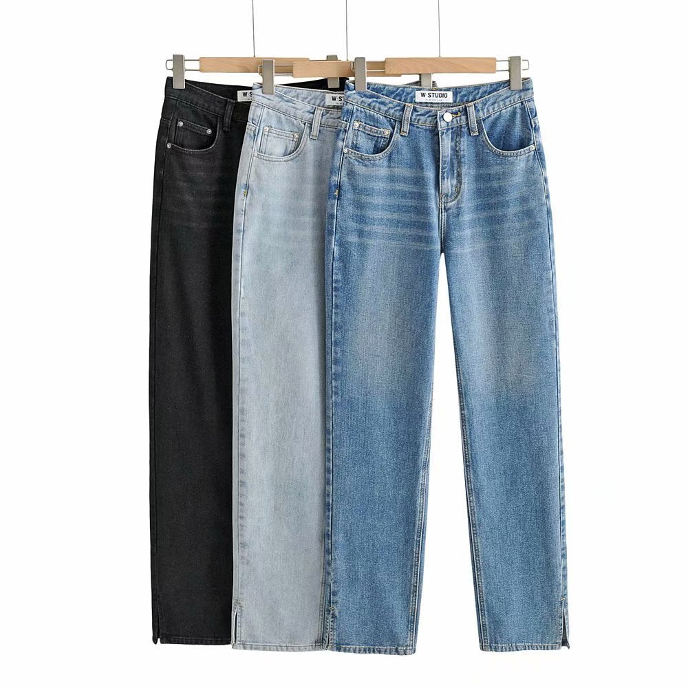 High Waist Floor Split Jeans Women's Leg Pants Straight Pants