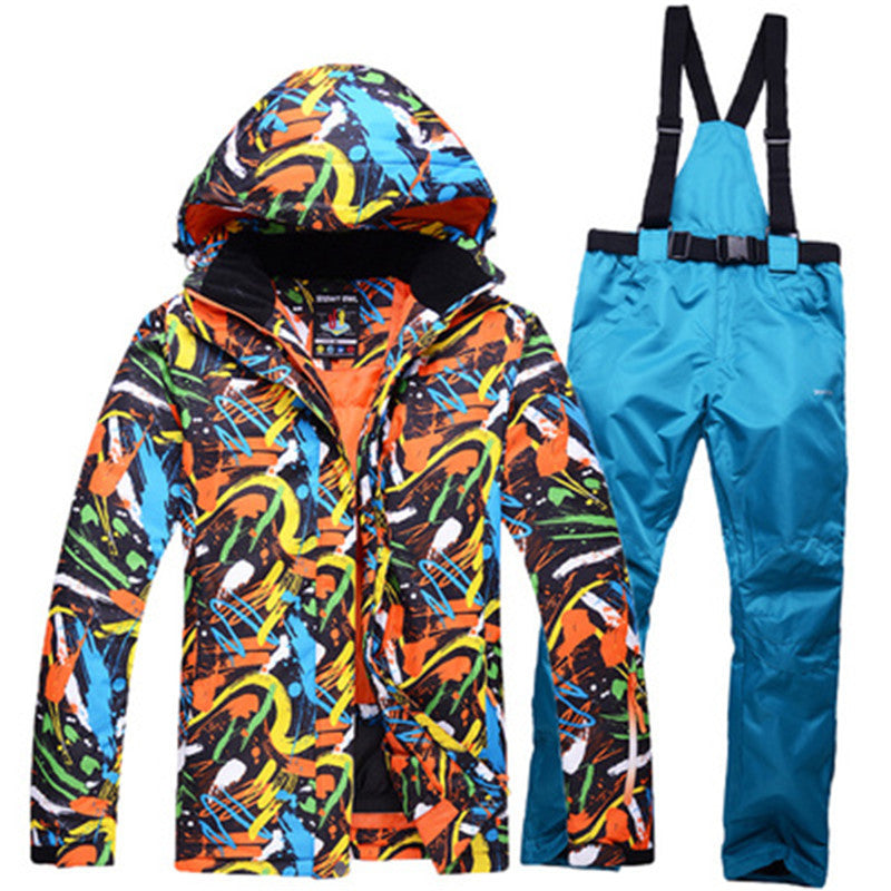Graffiti Ski Suit Winter Ski Pants Waterproof  Keep Warm Thick