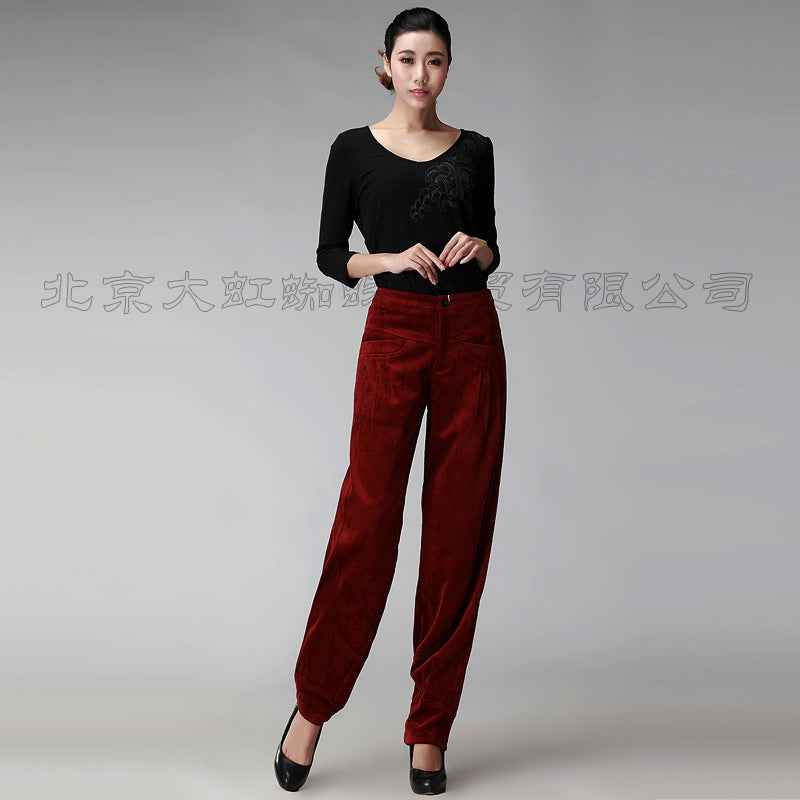 Corduroy Casual Loose Wide Leg Bloomers High Waist Plus Size Mother Pants