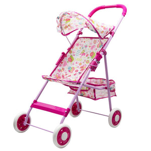 Annie's Collection Baby Doll Stroller, Foldable Basket Adjustable Hood Girls Toddlers