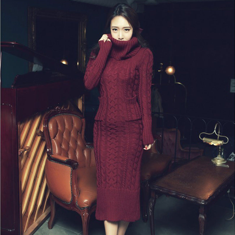 High Collar Pile Neck Twist Long Thickened Bottomed Sweater Dress Long Skirt