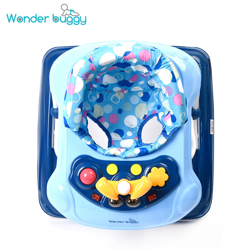 Wonder buggy Baby Walker, Fold Activity Walkers Helper with Adjustable Height and Removable Toy Tray for Baby