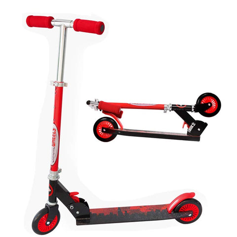 "ChromeWheels Kick Scooter, Deluxe 8"" Large 2 Light Up Wheels Wide Deck 5 Adjustable Height with Kickstand Foldable Scooters"