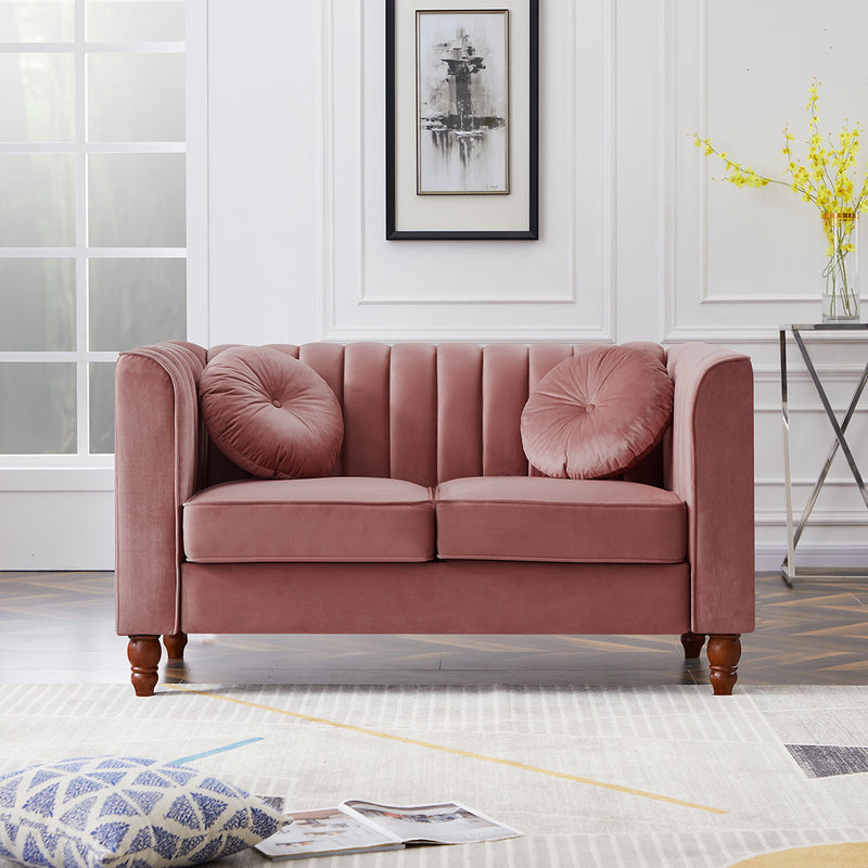 Furniture Two Seater Solid Wood Velvet Sofa