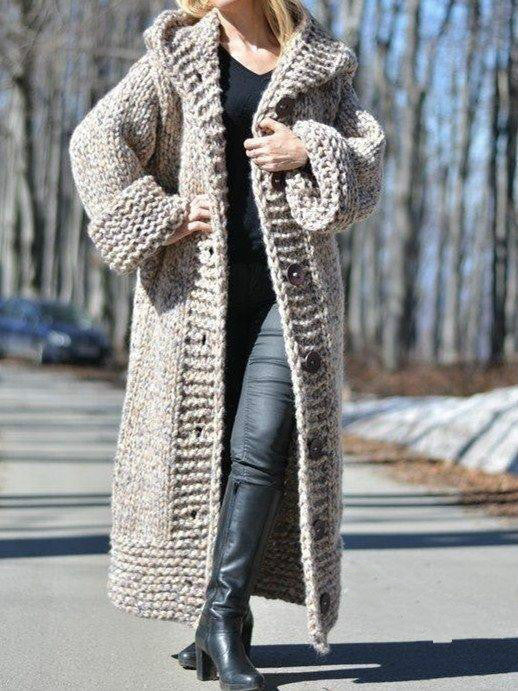 Cardigan European and American Style Long Thick Knit Sweater Coat