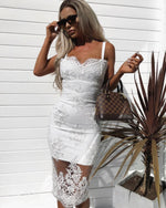 Dress Embroidered with Gauze and Luxurious Suspender Dress
