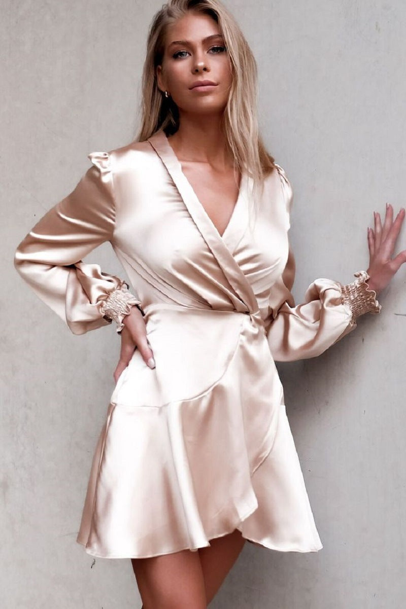2021 Spring New Satin Strap Temperament Dress Holiday Style