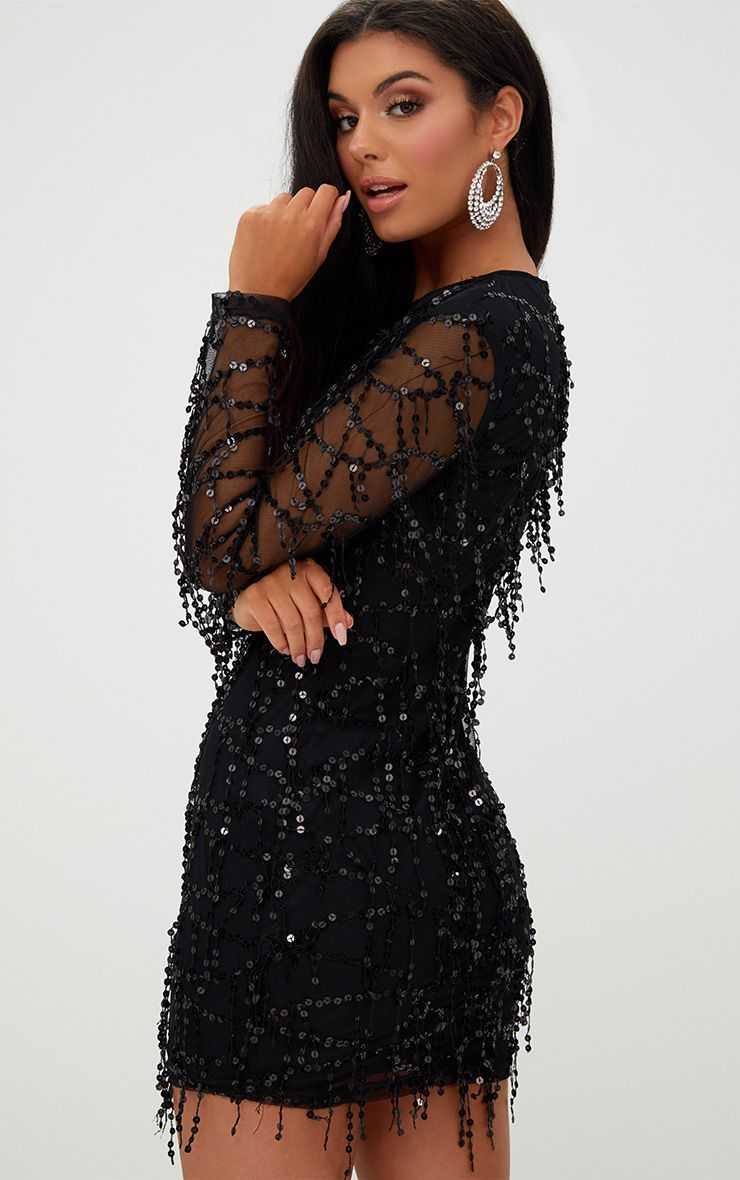 2021 Spring Round Neck Sequin Buttock Long Sleeve Dress