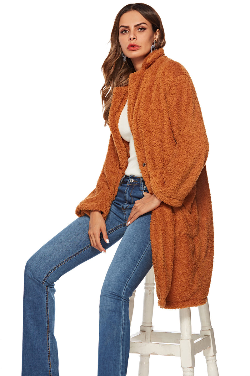 Winter 2020 Women's Coat Hot Brown Woolen Big Pocket