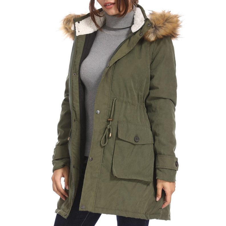 Cotton Padded Jacket with Wool Collar and Hood