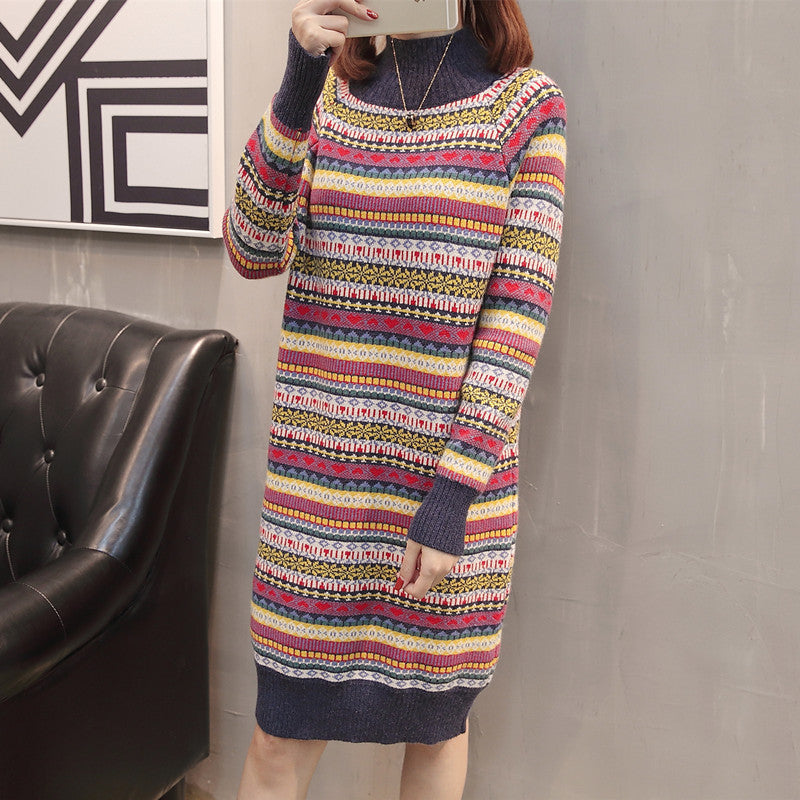 Autumn and Winter New Sweater Women's Half High Collar Pullover Colorful Dress Long National Style Knitting
