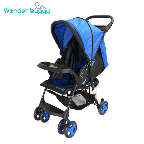 Wonder Buggy Roadmate Multi Position Compact Stroller With Canopy,Basket & Toy Tray - Royal Blue
