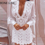 2021 New See-through Mesh Puff Sleeve Butterfly Lace Dress