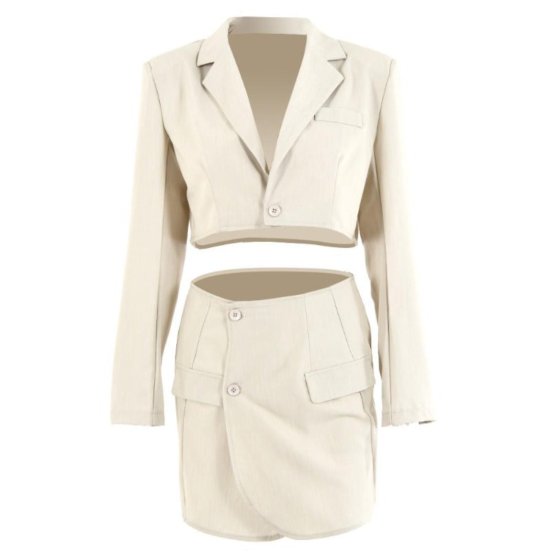 Crop Blazer and A-Line Skirt Set, 2 PCS Set Blazer Jacket and Hip Skirt for Women
