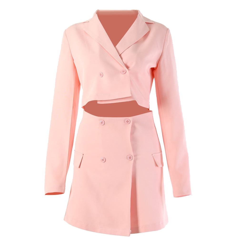 Cropped Blazer Jacket with A-Line Skirt, 2 PCS Set Suit for Women