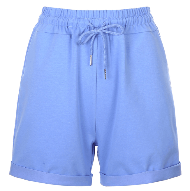 Adjustable Tied Shorts Blue Sweatpants for Women