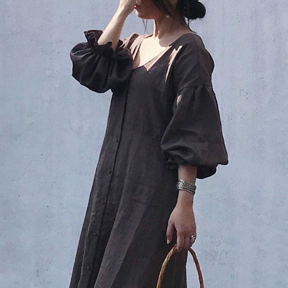 Temperament Fashion Long Skirt 2021 Spring New Lady Solid Color Shirt Dress Female