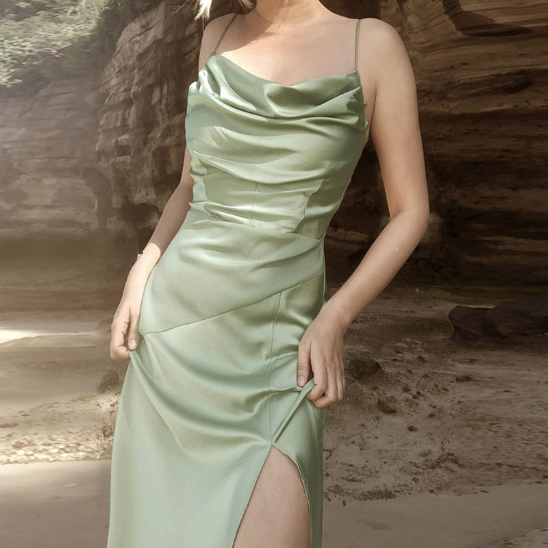 New Satin Slit Suspender Dress In Spring  2021