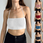 2021 New Knitted Sleeveless Camisole Sexy Wrapped Solid Color Vest