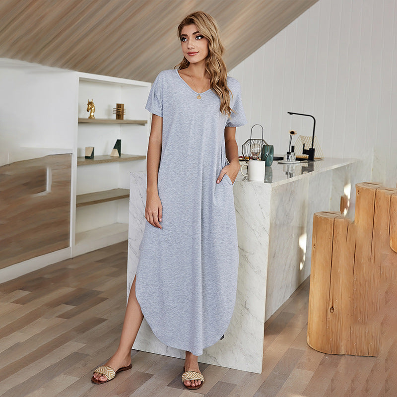 V Collar Home High-waisted Irregular Solid Color Dress Women's Spring 2021 New Model