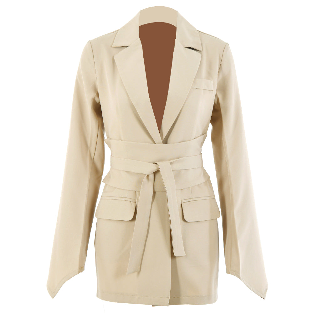 Adjustable Corset Blazer, Tied Waist Long Sleeve Blazer Jacket for Women