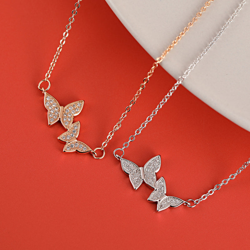 Double Butterfly Full Diamond Sterling Silver Necklace Clavicle Chain