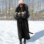 Winter Loose Solid Color Temperament Commuter Long Coat With Fur Collar