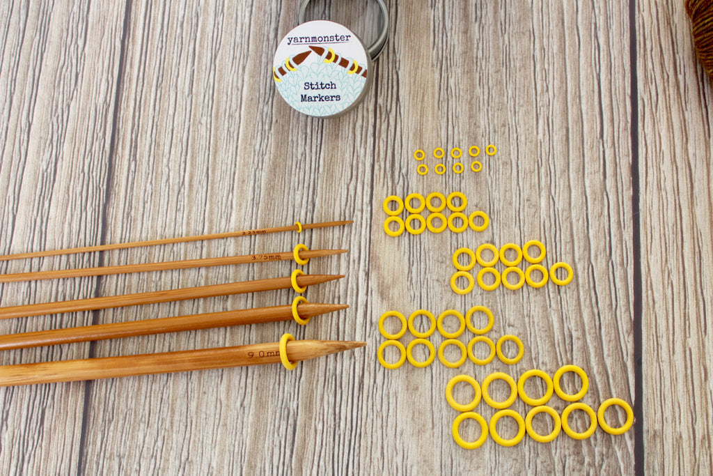 Yellow Rubber Small Set | Stitch Markers