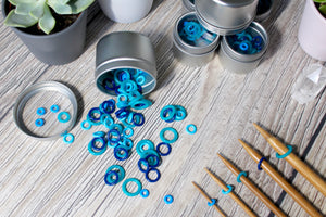 Blue Silicone Large Set | Stitch Markers