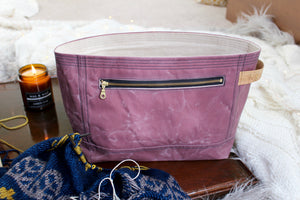 Mauve Waxed Canvas Niffin Bag