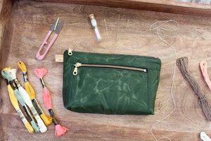 Cypress Green Waxed Canvas Devon Pouch