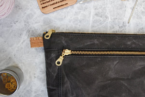 Charcoal Waxed Canvas Devon Pouch