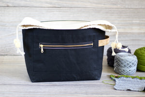 Project Bag | Black Waxed Canvas Niffin Bag