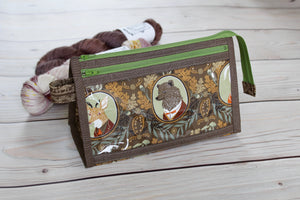 Black Forest Inside Outside Pouch | Animal Portraits in Brown