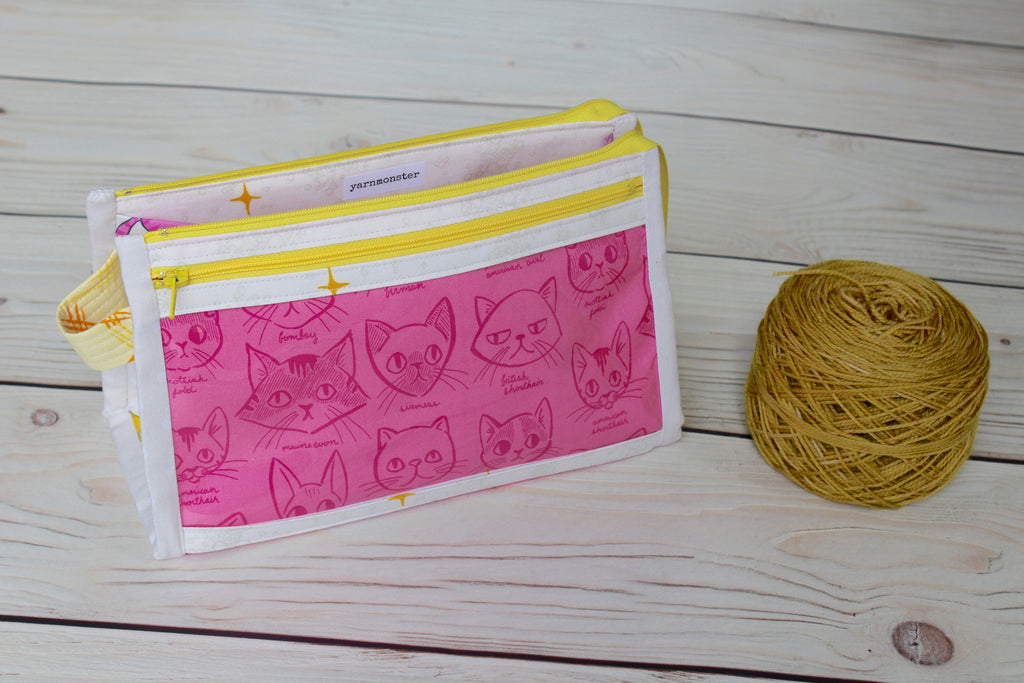 Caturday Inside Outside Pouch | Hot Pink Cat Breeds
