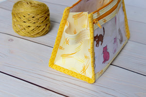Caturday Inside Outside Pouch | Lace Kitty Border
