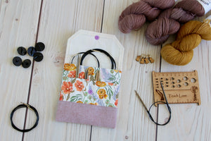 Interchangeable Knitting Needle Case 6-Tip | Ranunculus Floral