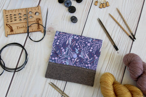 Interchangeable Knitting Needle Case 6-Tip | Purple Branches Floral