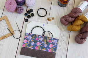 Interchangeable Knitting Needle Case 9-Tip | Purple Pansies Floral