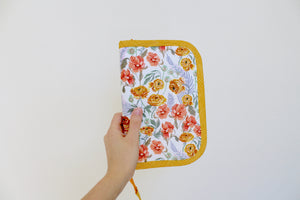 Knitting Needle Case 9-Slot | Orange Ranunculus with Tossed Dianthus Floral