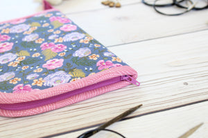 Knitting Needle Case 9-Slot | Purple Pansies with Tossed Dianthus Floral