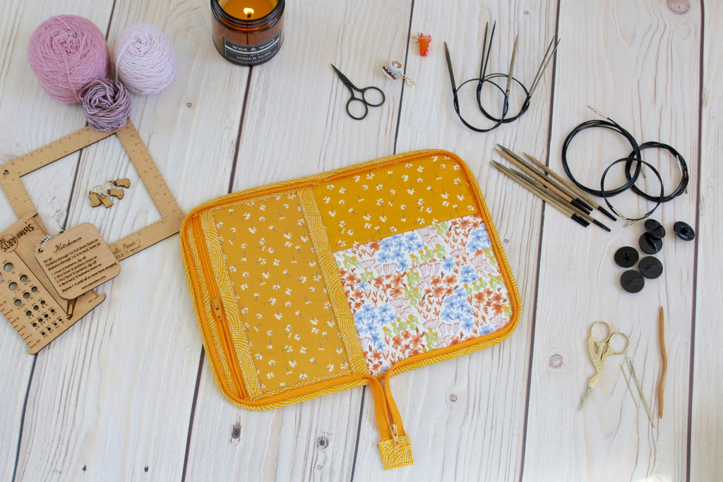 ODDBALL Knitting Needle Case 9-Slot | Orange Ranunculus with Tossed Dianthus Floral