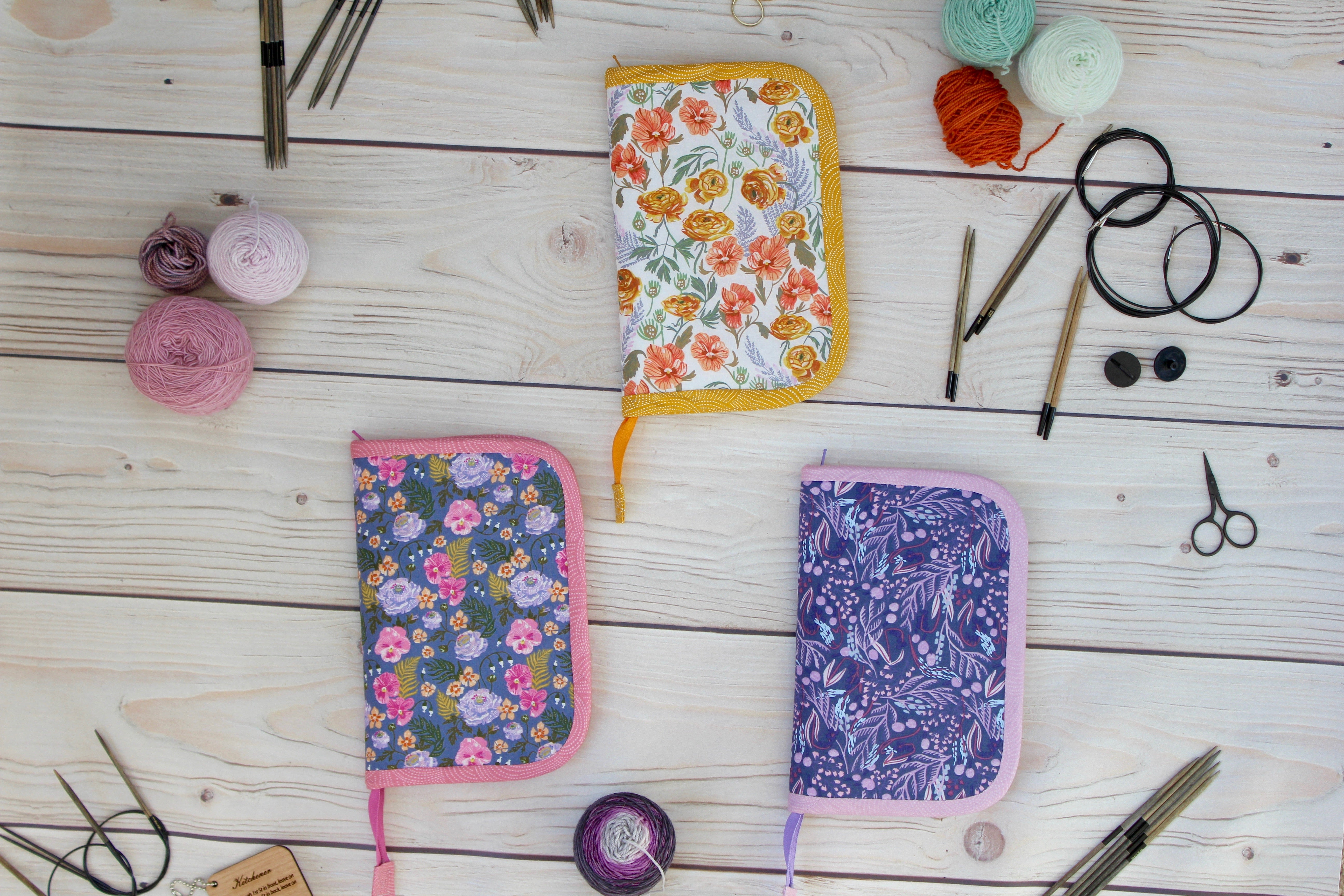 Knitting Needle Case 9-Slot | Purple Branches with Cone Flowers Floral