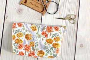Devon Pouch Made From Rae Ritchie's Botany Collection- Ranunculus in White