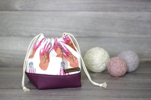 Knitting Project Bag | Palm Reading Pink Hands Sock Sack Yarnmonster Knitting Project Bag