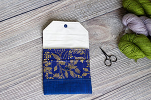 Interchangeable Knitting Needle Case | Blue Metalic Rifle Paper Co. Floral Print Needle Case/ Notions Clutch