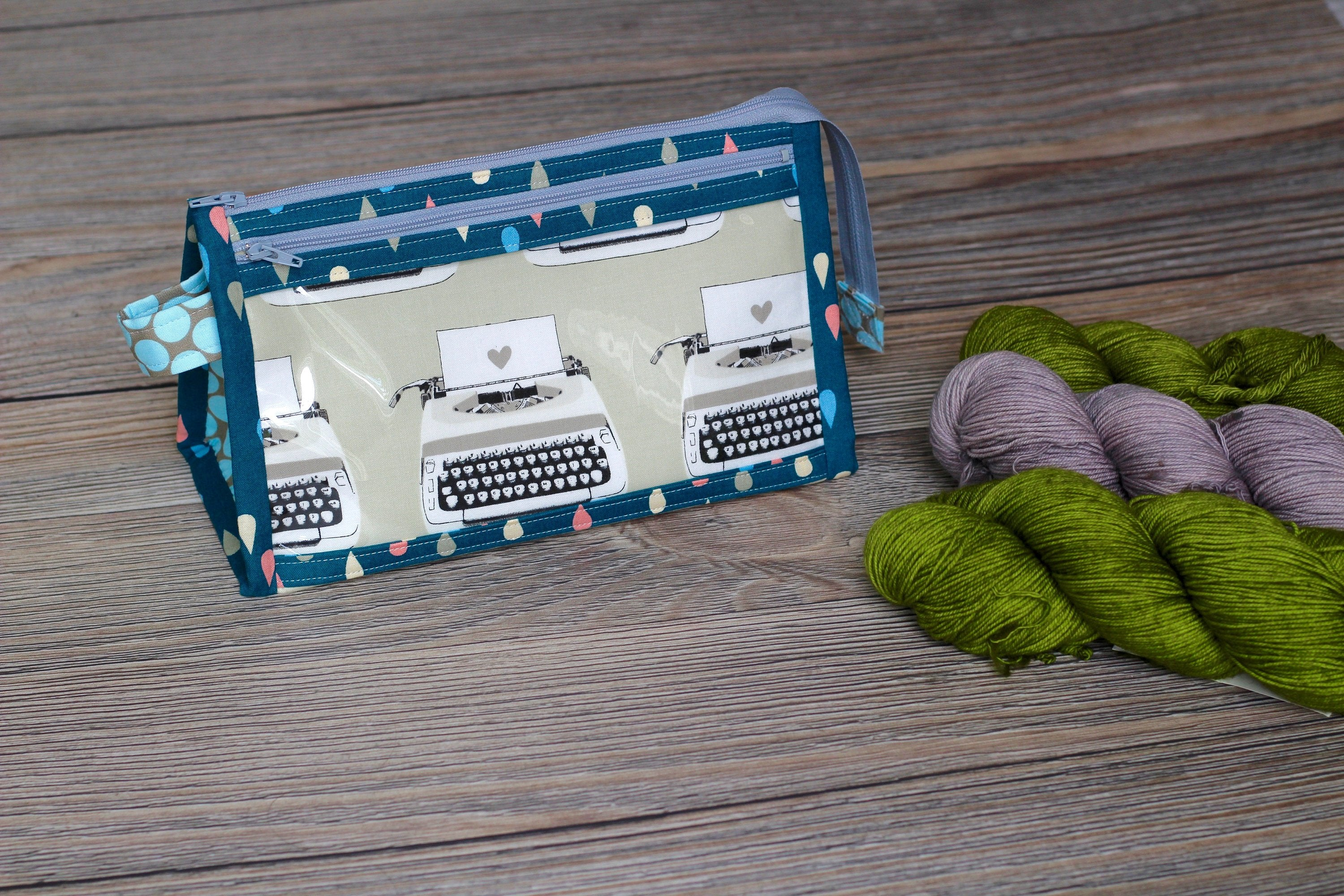 Typewriters and Polka Dots Inside Outside Pouch