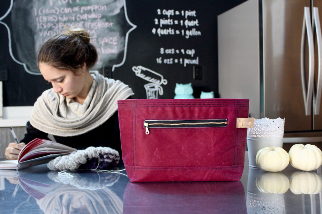 Project Bag | Garnet Red Waxed Canvas Niffin Bag
